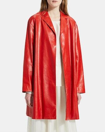 Varnished Leather Overlay Coat