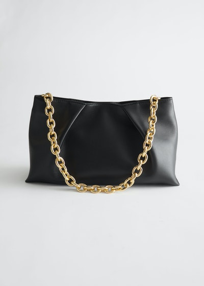 Folded Leather Chain Strap Bag