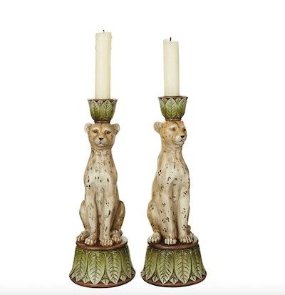 Pair of Lakadema Leopard Candle Holders