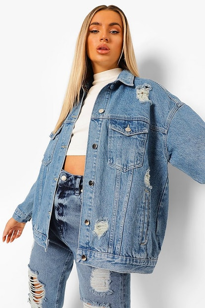 Boohoo Distressed Oversized Denim Jacket