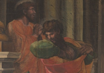 Christian apostles Paul and Barnabas seen in a state of despair and terror at Lystra.