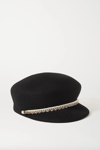Sabrina Embellished Wool-Felt Cap