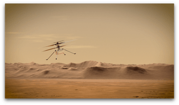 NASA's Ingenuity Mars Helicopter flying through the Red Planet's skies.