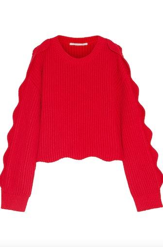 Scalloped Cotton Wool Sweater