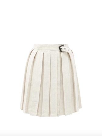 Buckled Pleated Linen Miniskirt