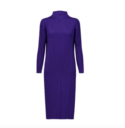 Pleats Please Issey Miyake Mock-Neck Pleated Dress