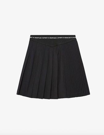 Pleated Wool Miniskirt