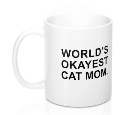World's Okayest Cat Mom mug