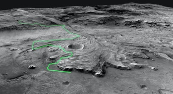 This annotated mosaic depicts a possible route the Mars 2020 Perseverance rover could take across Jezero Crater