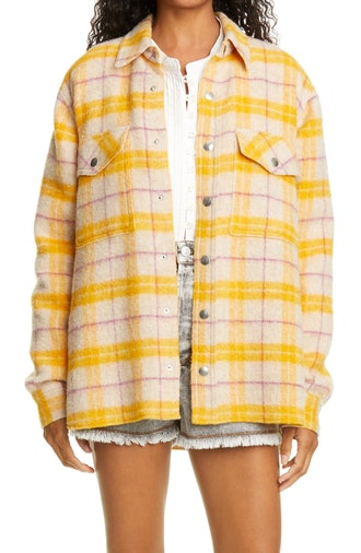 Faxonli Buffalo Wool Blend Shirt Jacket