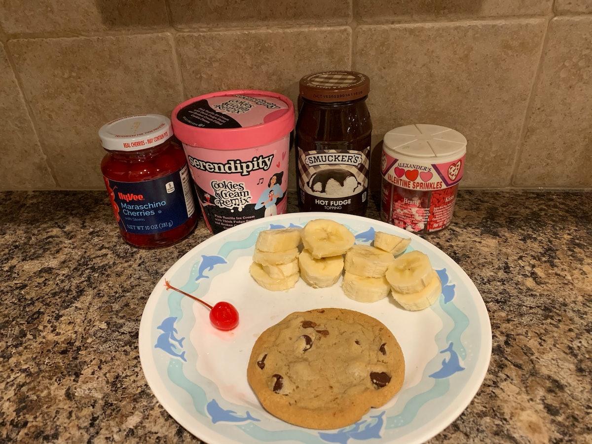 My ingredients for Selena Gomez's Galentine's Day sundae.
