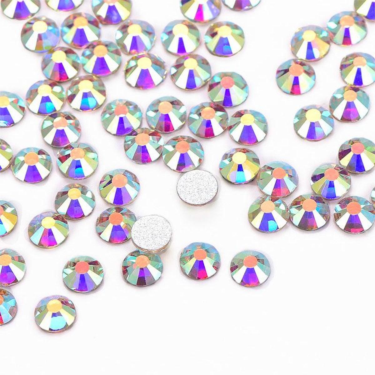 Wholesale Rhinestone Crystal AB Glass FlatBack Rhinestones, Silver Back