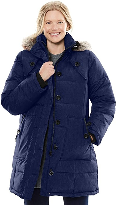 Woman Within Heathered Down Puffer Coat