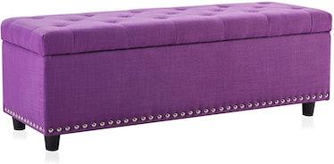BELLEZE Rectangular Faux-Leather Storage Ottoman Bench