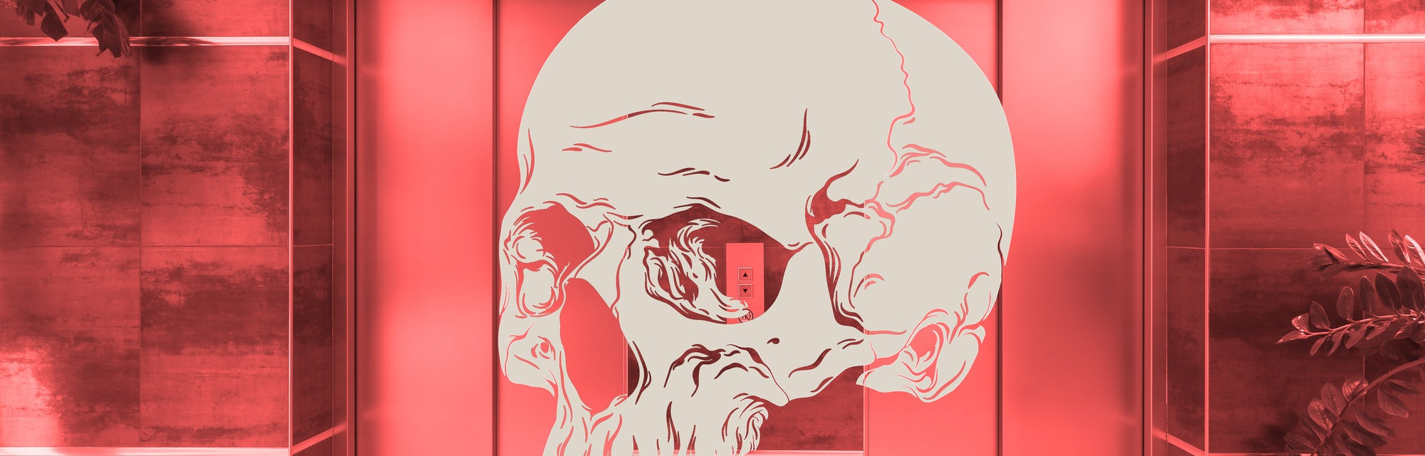 skull in front of two elevators with a red wash