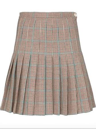 Check Pleated Wool Miniskirt