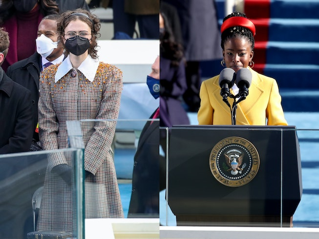 Ella Emoff and Amanda Gorman speaks during the inauguration of U.S. President-elect Joe Biden on the West Front of the U.S. Capitol on January 20, 2021 in Washington, DC.