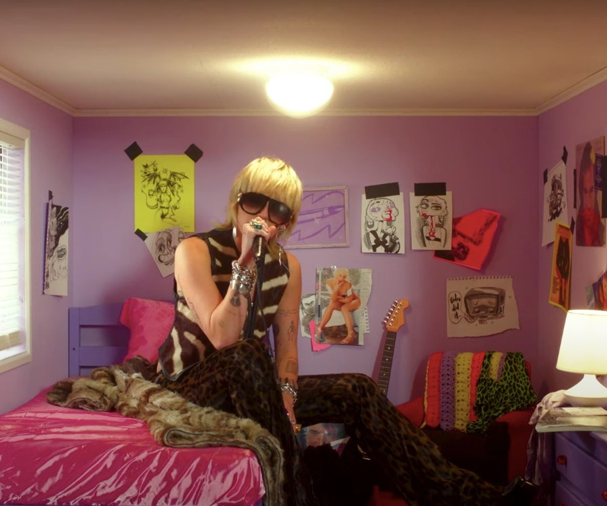 Miley Cyrus performed in a miniature-sized bedroom for her at-home performance for NPR's Tiny Desk Concert series.