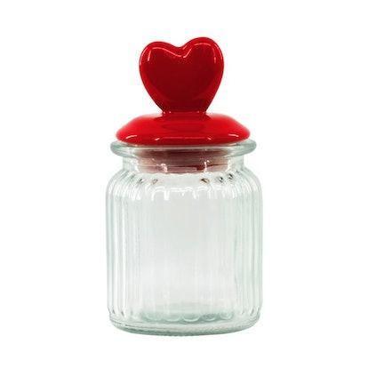 Way to Celebrate Valentine's Day Red Tabletop Glass Jar Decoration