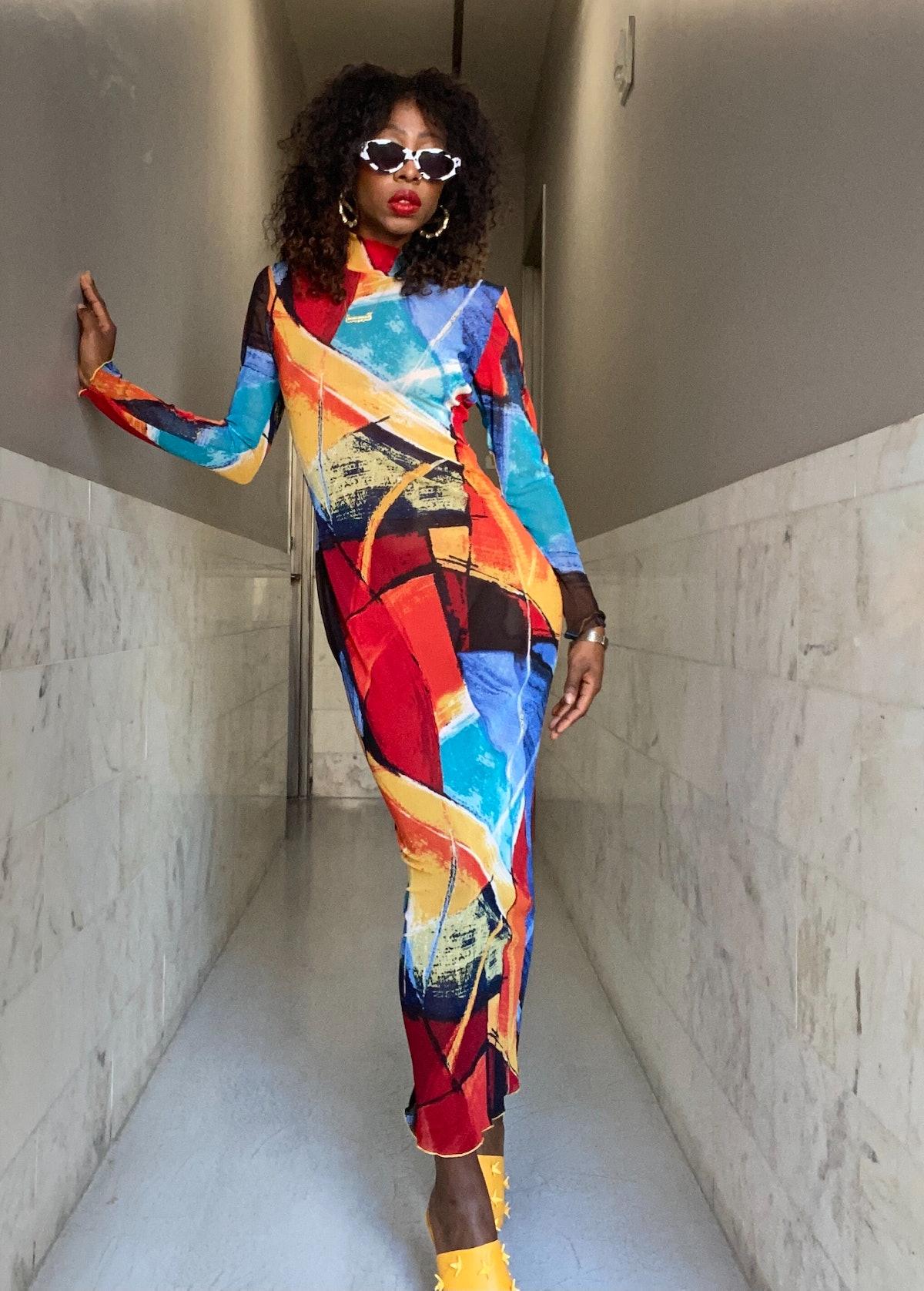 Cameron Mesh Dress Painted Full Length