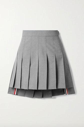 Grosgrain-Trimmed Pleated Wool-Blend Miniskirt