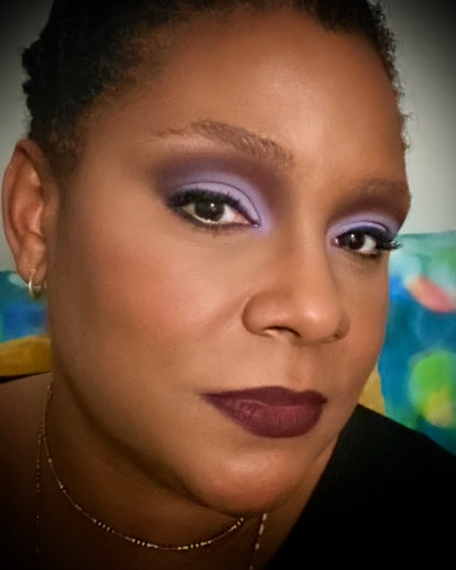 This lavender makeup from Fatima Thomas is an easy approach to color.