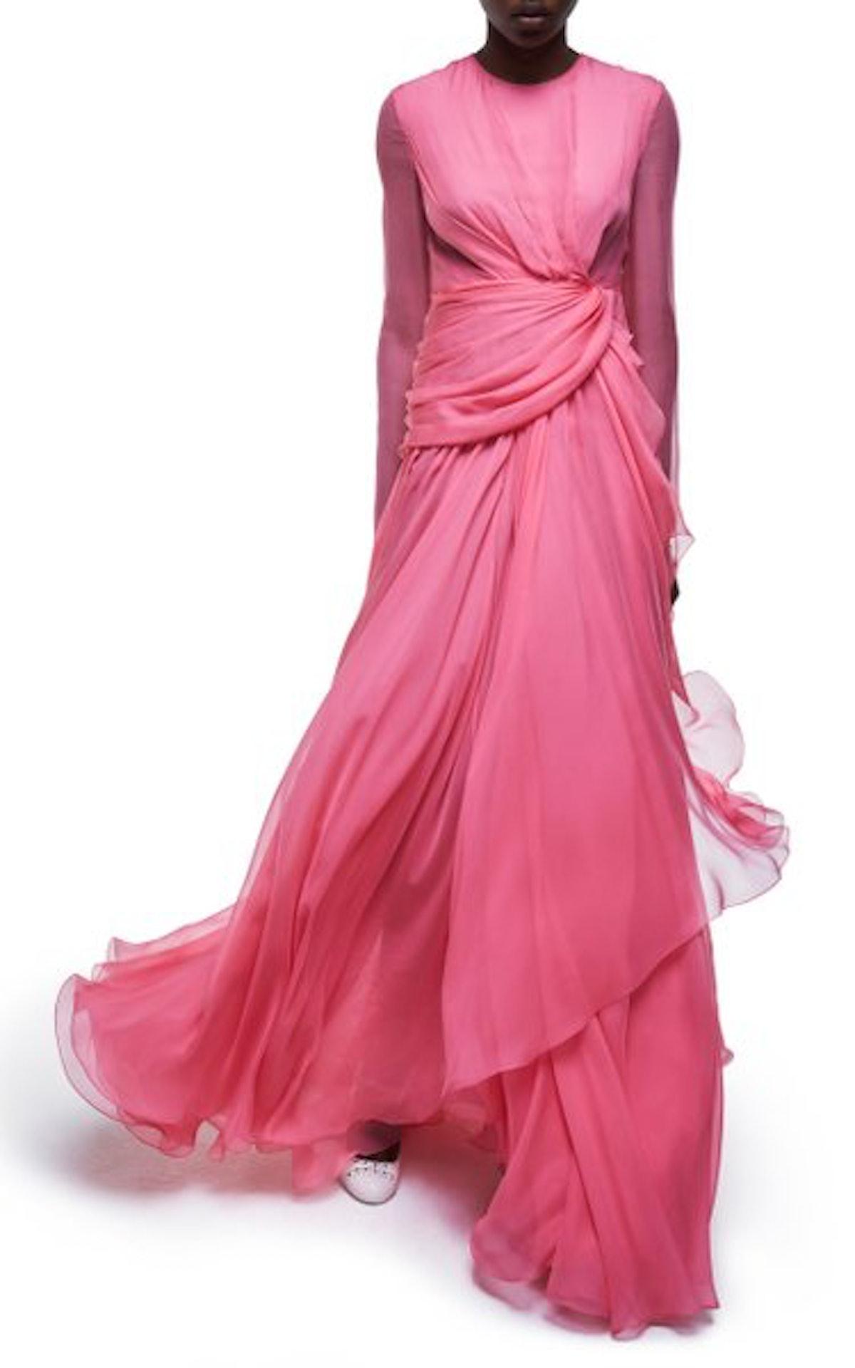 Draped Silk Georgette Gown