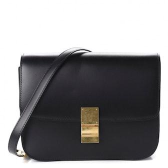 Box Calfskin Medium Classic Box Bag Black