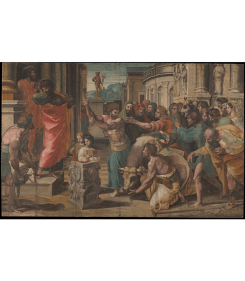 A digital copy of Raphael's The Sacrifice At Lystra, depicting different apostles like Paul as he attempts to reason with the people of Lystra.