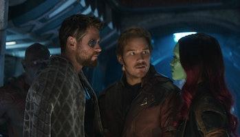 Chris Hemsworth, Chris Pratt, and Zoe Saldana in Avengers: Infinity War.