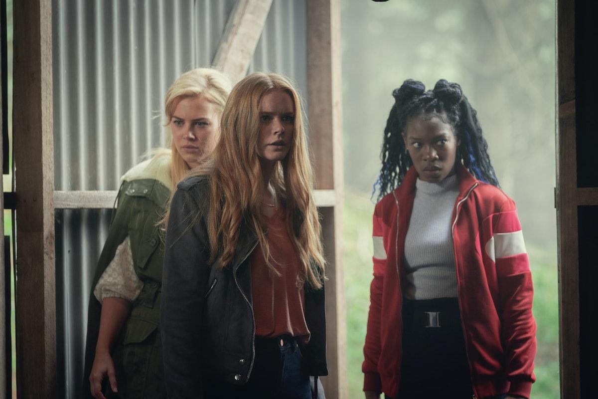 Hannah van der Westhuysen as Stella, Abigail Cowen as Bloom, Precious Mustapha as Aisha in Fate: The Winx Club Saga Season 1.