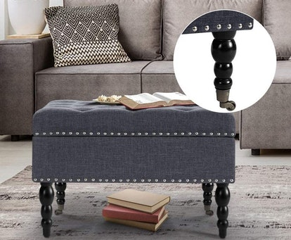 AVAWING Square Tufted Storage Ottoman with Wheels