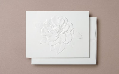 Blind Embossed Camellia Greeting Card