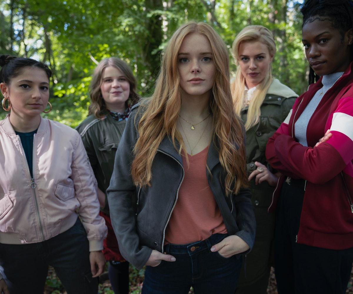 Fate: The Winx Club Saga Season 1. Elisha Applebaum as Musa, Eliot Salt as Terra, Abigail Cowen as Bloom, Hannah van der Westhuysen as Stella, Precious Mustapha as Aisha in Fate: The Winx Club Saga Season 1.