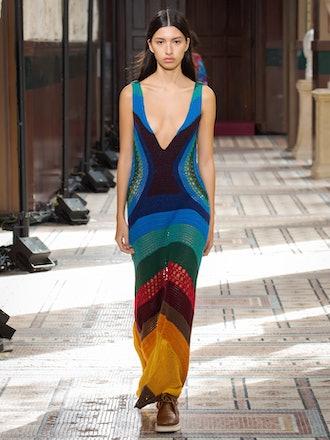 Ocon Plunge-Neck Striped Crochet Dress
