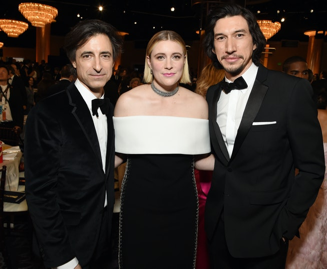 Noah Baumbach, Greta Gerwig, and Adam Driver attend the 77th Annual Golden Globe Awards at The Beverly Hilton Hotel on January 05, 2020 in Beverly Hills, California.