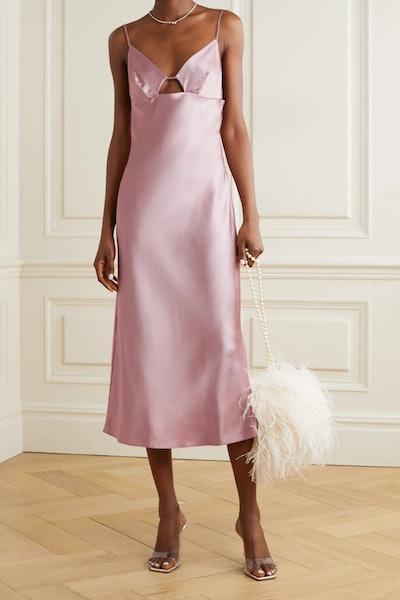 Cutout Silk-Satin Midi Dress