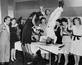 Celebrations of V-J Day after World War 2.