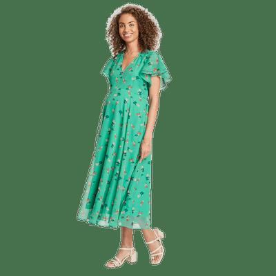Floral Chiffon Flutter Sleeve Maxi Dress