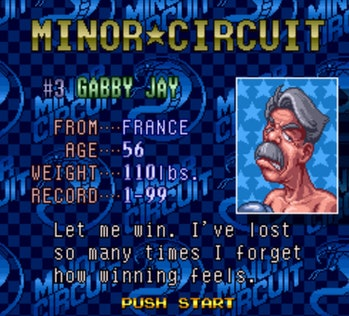 A card describing Minor Circuit boxer Gabby Jay in Super Punch Out, begging the user to let him win