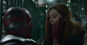 Paul Bettany and Elizabeth Olsen in Avengers: Infinity War