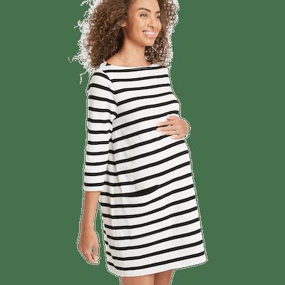 Jersey Stripe Elbow Sleeve Cotton Dress