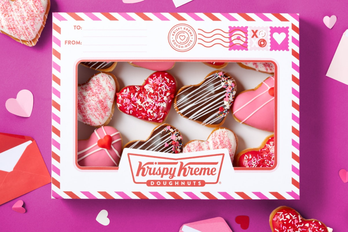 """Krispy Kreme's Valentine's Day 2021 doughnuts are """"Dough Notes,"""" cute dozens with personalized notes."""