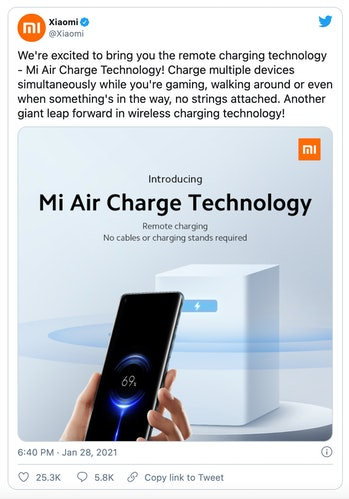 Chinese smartphone maker Xiaomi has teased a product that can charge smartphones through the air.
