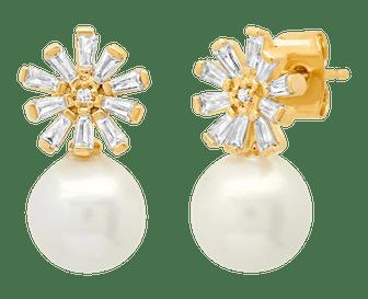Pearl Baguette Flower Stud