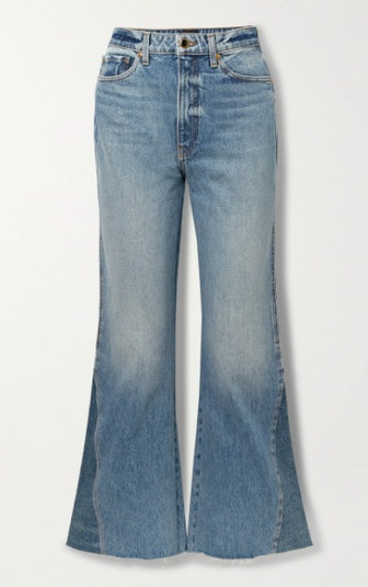 Layla paneled cropped high-rise flared jeans