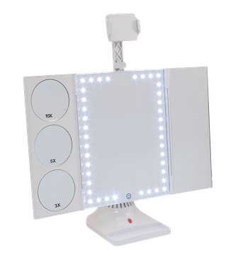 Bluetooth LED Makeup Mirror with Phone Attachment
