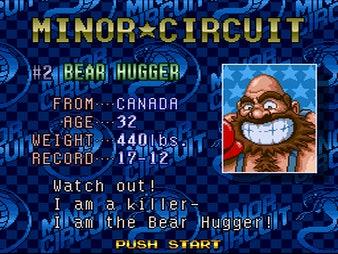 A description of Bear Hugger, an opponent in Super Punch Out