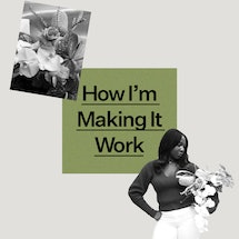 """Jenny Pagel founder of Kanku floristry pictured with a bouquet of her creation and the text """"How I'm..."""