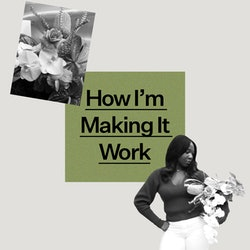 """Jenny Pagel founder of Kanku floristry pictured with a bouquet of her creation and the text """"How I'm Making It Work"""""""